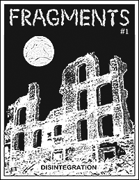 Zine cover: sad moon over ruins