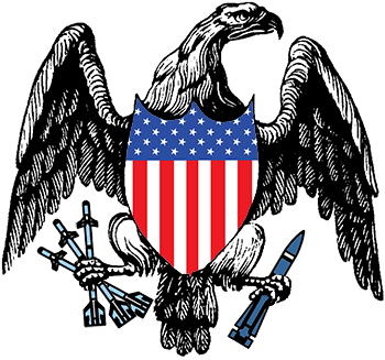 US eagle holding missiles
