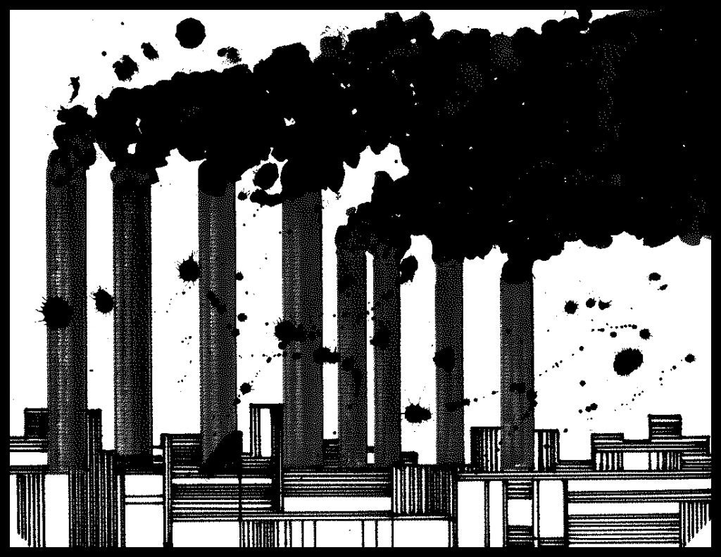 Factory belching black smoke from smokestacks