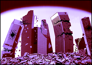 Los Angeles skyline crumbling