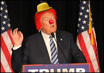 Trump with clown hat, nose and hair