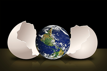 Earth hatching from egg