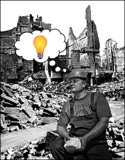 Worker with lightbulb in thought bubble