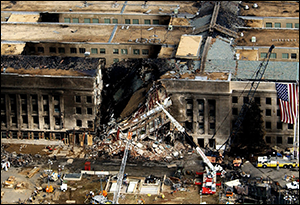 Pentagon wreckage after 9-11